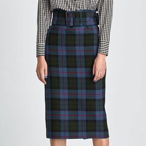 Zara Blue Tartan Plaid Midi Skirt with Belt